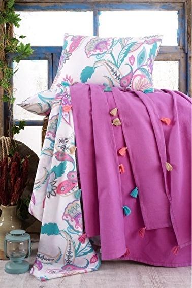 Lady Moda Çift Kişilik Pamuklu Ponponlu Pike Takımı | Fuşya Renkli